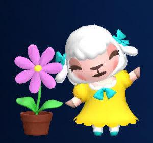 花が咲いて満足げなメイドのメイちゃん