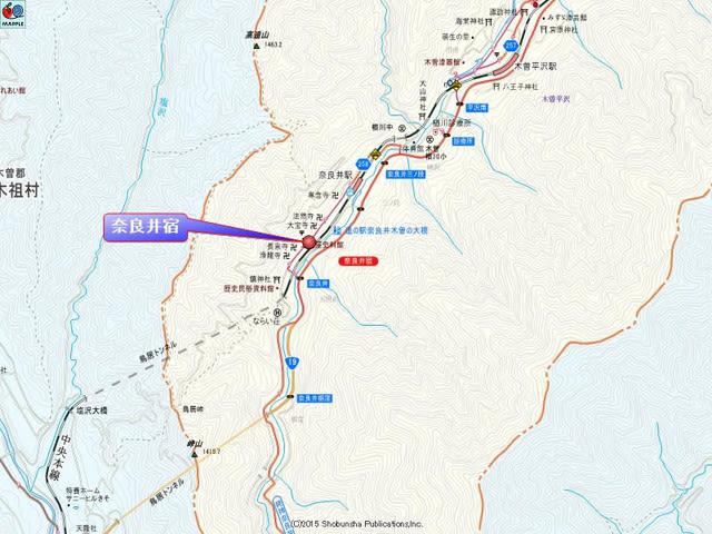 奈良井宿の地図