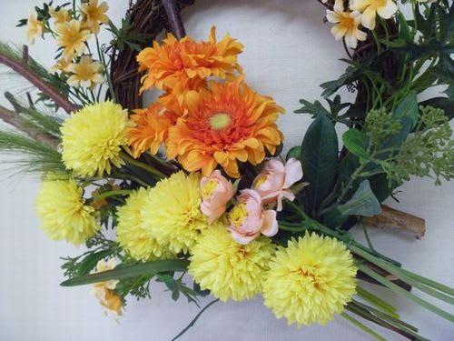 造花 ガーベラとピンポンマムの壁掛け