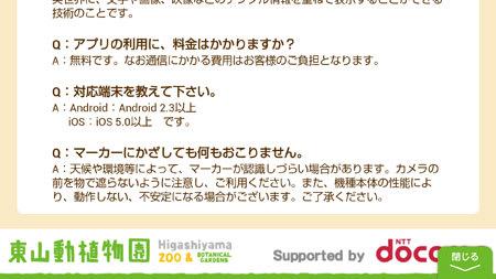 「東山d動植物園ARアプリ」ヘルプ画面