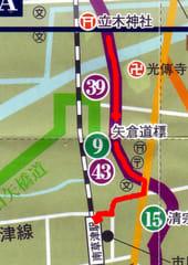 私が歩いたコース(草津観光マップに赤い矢印で示した)