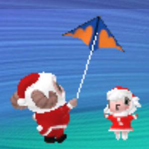 サンタコスで凧揚げ