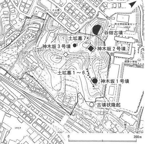 神木坂古墳群の位置図