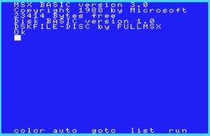MSXディスク起動画面