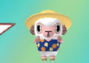 麦わら帽子スタイルにお着替えした、おしゃれひつじくんver3