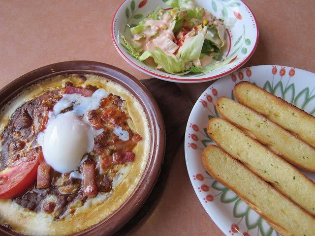 夏のスパイシーカレードリア+半熟卵トッピング+サラダセット