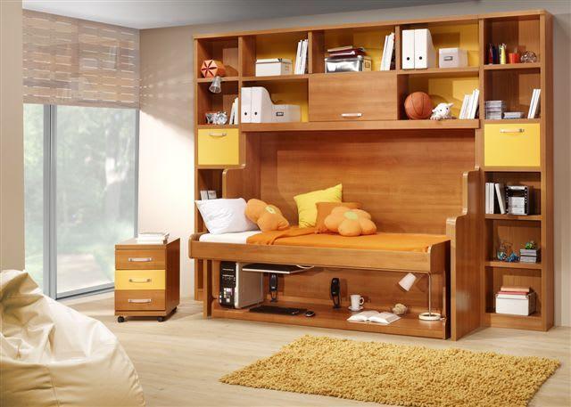 ヒデンベッドと一般的な壁面収納ベッドとの違い デスクの上を片付けず、そのままベッドに! ・・・ ヒデンベッド