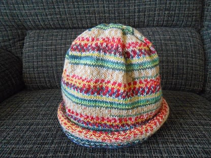 Opal(オパール)で編む「腹巻帽子」☆編むだけで柄が出る!