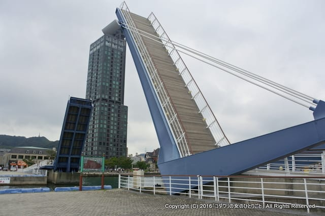 門司港レトロ散策☆跳ね橋「ブルーウィングもじ」の開橋を関門海峡をバックに臨む♪