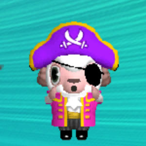 現在の日時に戻すと…海賊ルックのひつじのしつじくんが登場