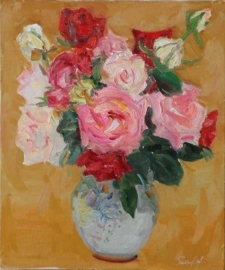 妻の油絵「5月のばら」です。 久しぶりに大輪の美しいバラを目の前にして... 油絵「5月のばら」
