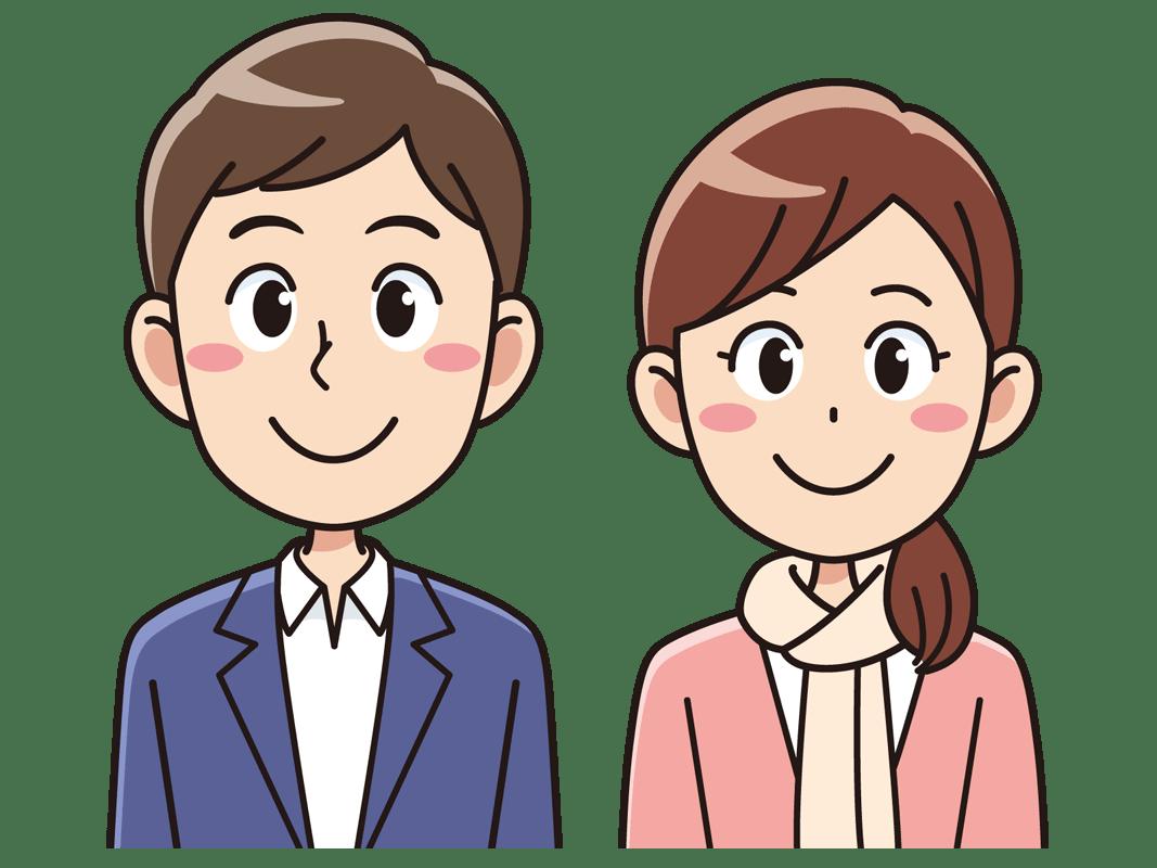 笑顔の20代男女(無料イラスト素材) - イラスト素材図鑑