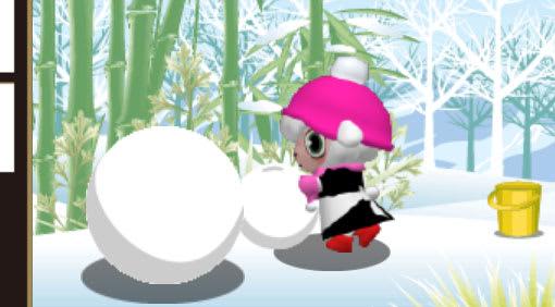 ピンクの帽子にピンクのマフラーと手袋、それに赤い長靴が鮮やかだ