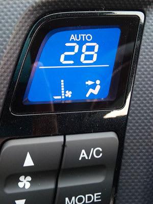 オートエアコンの表示部。設定温度を表示