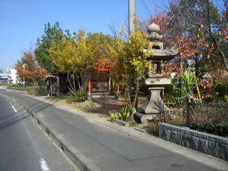 福山市松浜町3丁目の愛宮神社と常夜灯(旧入江の南岸にあたる)