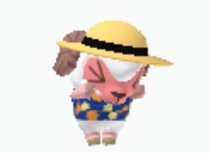 泣く、麦わら帽子スタイルのおしゃれひつじくん