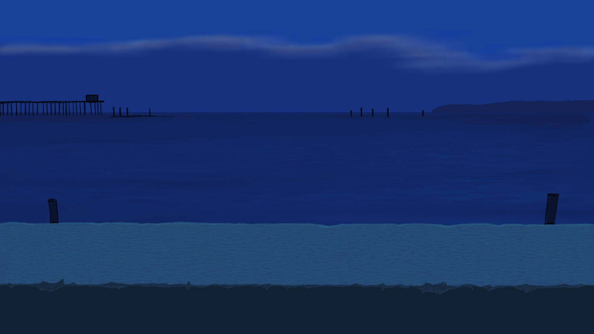 人物と、ススキと、海への月明かりの映り込みを外した背景画像です。 夜空... 【ヨコハマ買い出し