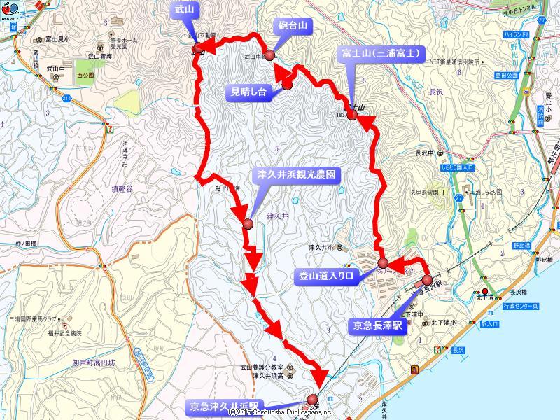 三浦富士-武山ハイキングコースマップ