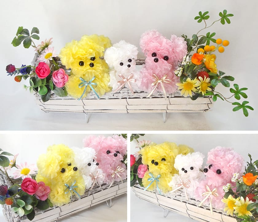 人気 母の日 カーネーション動物アレンジ 造花 雑貨 プレゼント 贈り物