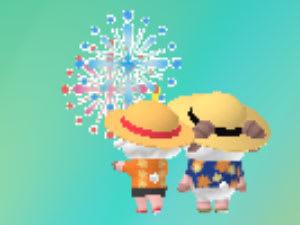 兄妹揃って麦わら帽子スタイルで花火を鑑賞