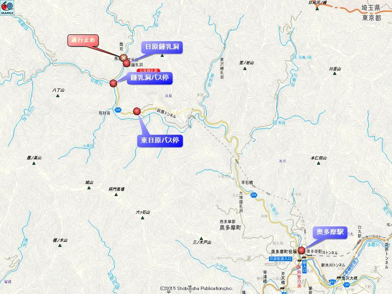 日原鍾乳洞への地図
