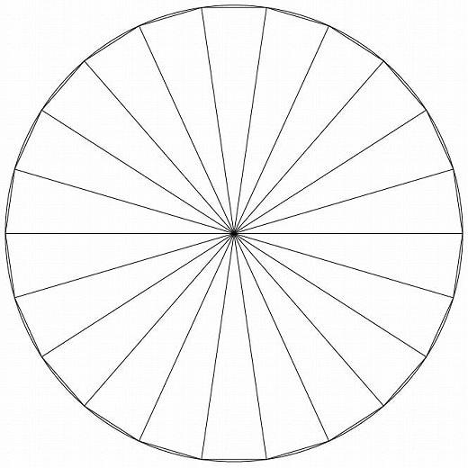すべての折り紙 折り紙 チラシ : パッチワークで使う円に20等分 ...