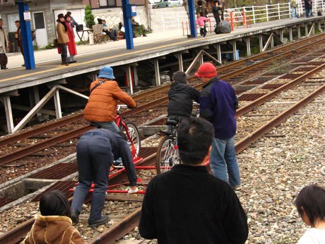 自転車の 神岡 自転車 線路 : 写真のように、発進の際には ...