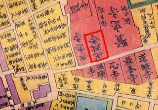 水野家時代の福山城下地図の赤枠で囲んだところが光政寺