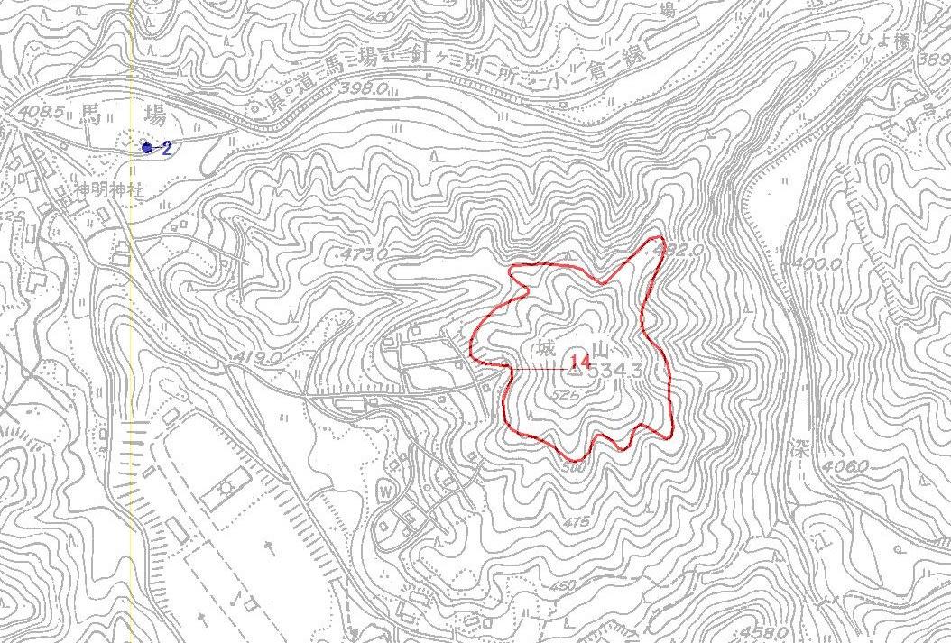 馬場城址遺跡地図