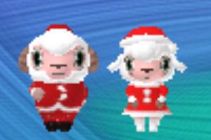 おしゃれひつじコースのひつじのしつじくん、サンタのお着替え。