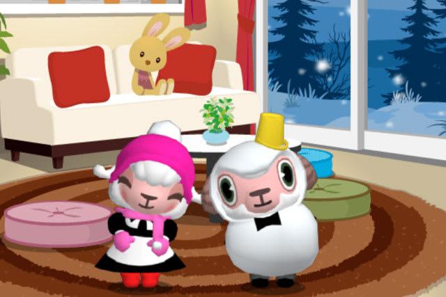 雪だるまスタイルのひつじのしつじくんとメイドのメイちゃん