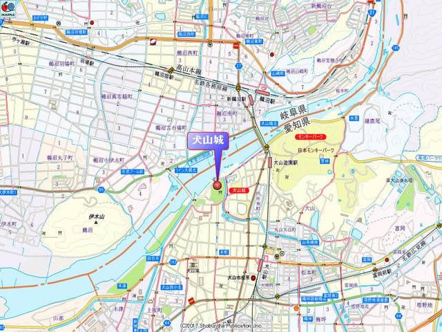 犬山城付近の地図