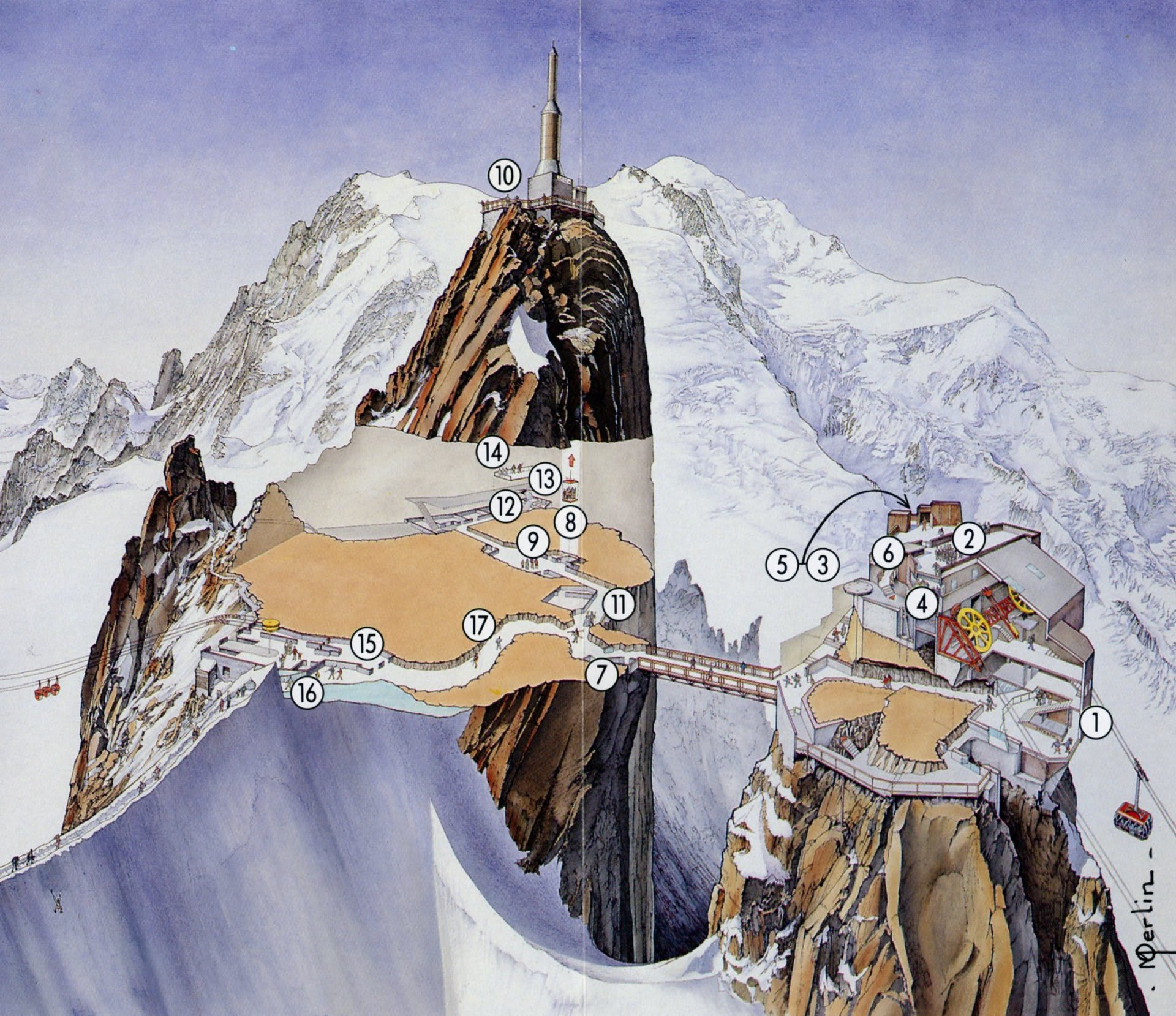 「エギーユ・デュ・ミディ展望台の構造」の画像検索結果