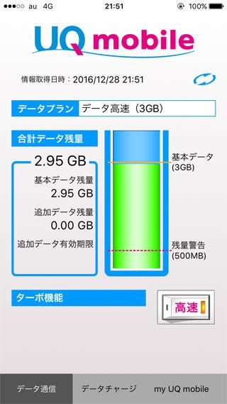 UQ mobile ポータルアプリのデータ残量画面