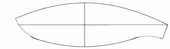 完成したバスケットボール型ボールから少し型紙を作り直しました。 (舟型多円錐図法で布ボールの型紙を3個にし、円を小さめに変更して再作図)