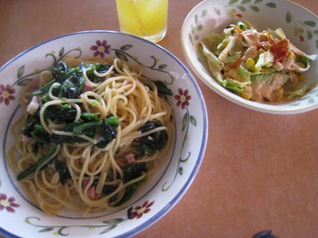 青菜とベーコンのスパゲティセット