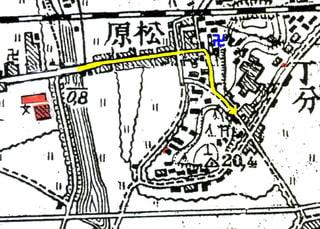 私の進路(福山空襲焼失家屋地図に黄色い矢印で示した)