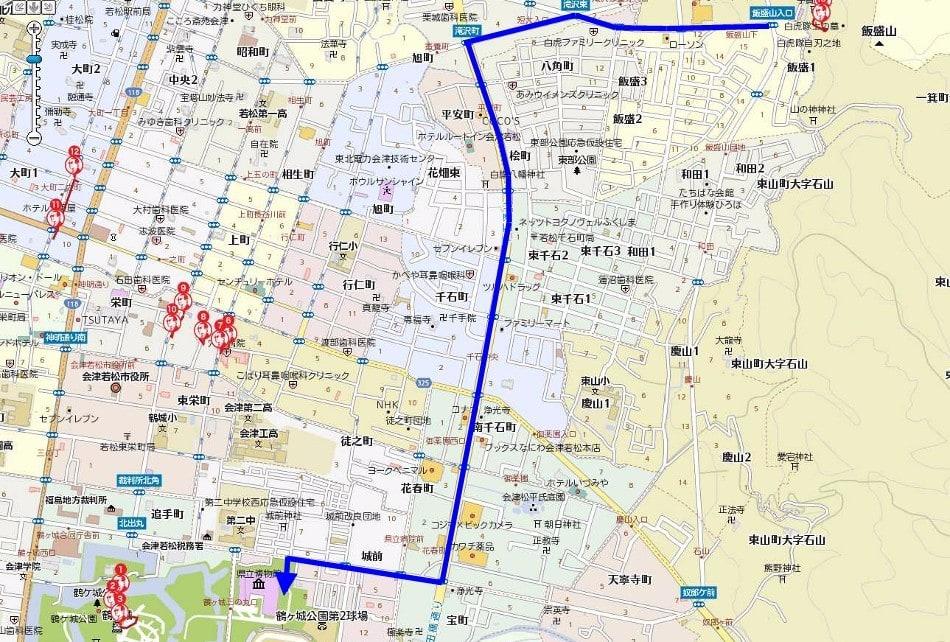 飯盛山から福島県立博物館までのルートマップ