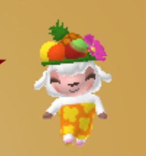 おしゃれひつじver13。フルーツの盛り合わせをデザインした帽子をかぶるメイドのメイちゃん