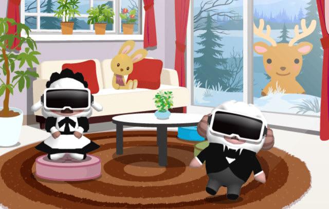 VRヘッドセットを装着したひつじのしつじくんとメイドのメイちゃん