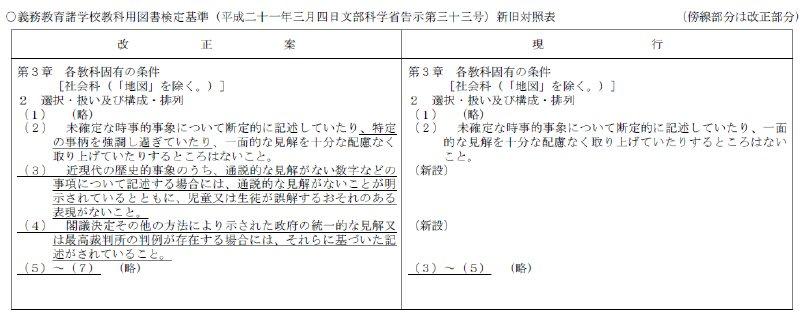 教科書検定基準改正
