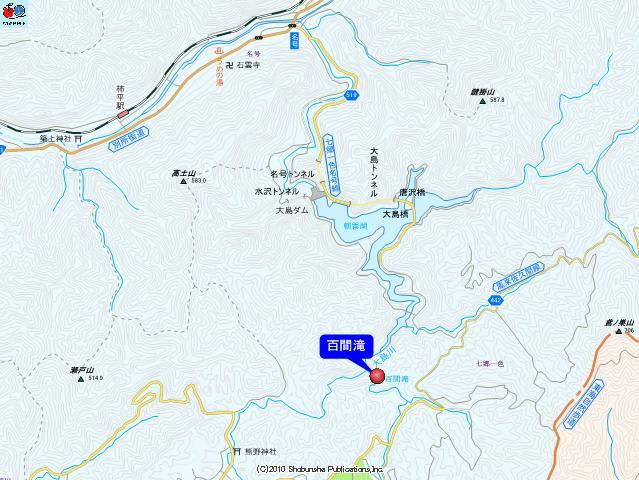 百間滝付近の地図