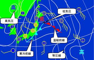 図2.新聞やテレビなどで見られる地上天気図(説明を付記)