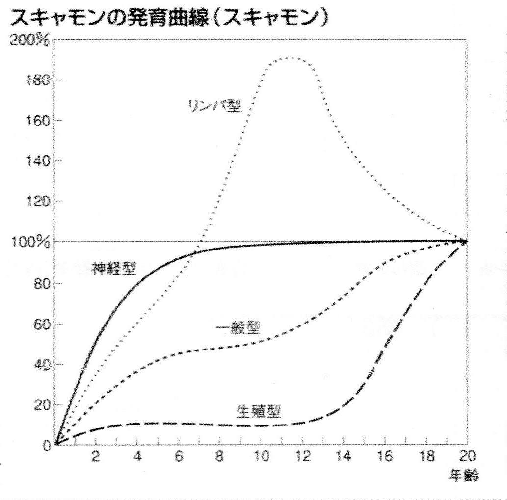 「スキャモンの発育曲線」の画像検索結果