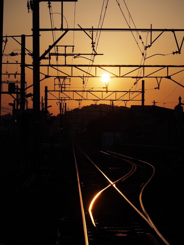 早朝の線路際にての画像
