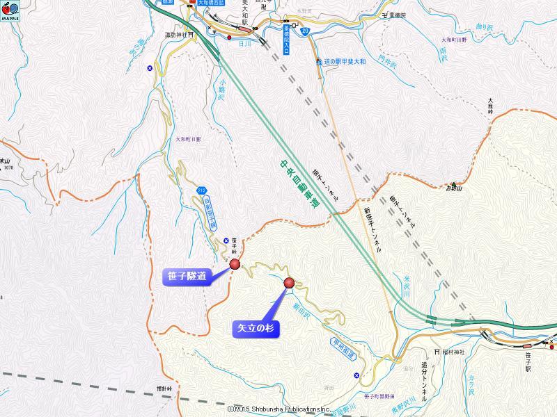 笹子隧道の地図