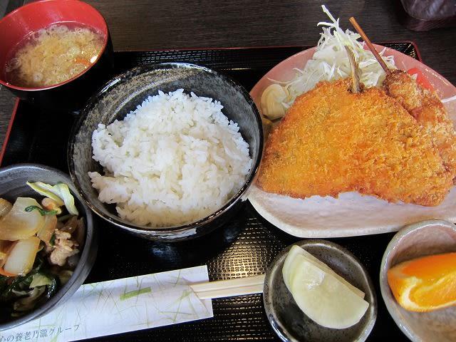 アジフライと串カツ定食