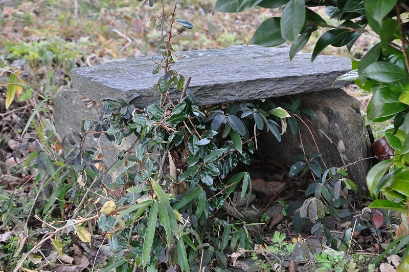 墳頂上の緑泥片岩石材