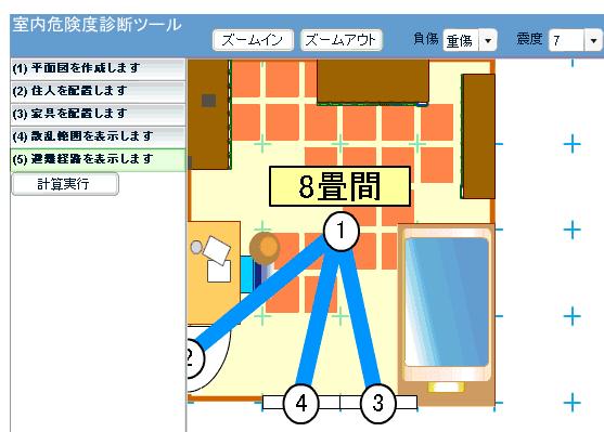 地震室内危険度診断システム 震度7重症範囲・避難経路