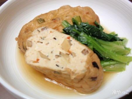 豆腐な日々2日目、五目がんもどきと小松菜の煮物